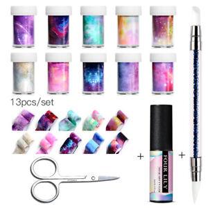 FOUR-LILY-Starry-Sky-Nail-Art-Sticker-Foils-5ml-Transfer-UV-Gel-Polish-Set-Tips
