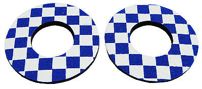 Flite old school BMX bicycle grip foam donuts - CHECKERBOARD BLUE *MADE IN USA*