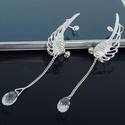 Angel Wing Stylist Crystal Silver Plated Earrings Drop Dangle Ear Stud Cuff Clip