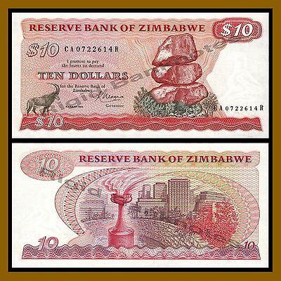 1983 P-3d Unc Zimbabwe 10 Dollars