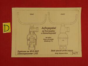 Herrlich Schema Auflegegabel Mit Rohrbelüfter U.rückschlagventil Zugellasen Am 18.10.1937 Produkte HeißEr Verkauf Sonstige