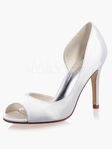 93b2d34fa305 White Satin Cut Out Peep Toe High Heel Bridal Court Plain Wedding ...