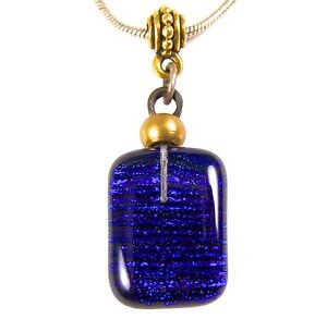 DICHROIC-PENDANT-Fused-Glass-Cobalt-Blue-Navy-Striped-Stripes-Gold-3-4-034-20mm