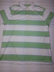 Nike-Golf-Polo-Dri-Fit-men-039-s-size-large-white-green-striped-short-sleeve-Q25