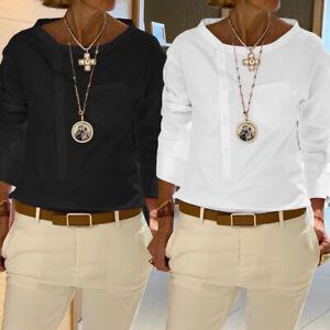 Mode-Femme-Chemise-Manche-Longue-Ourlet-Personnalite-Boutons-Haut-Shirt-Plus