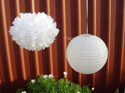 8x white paper lanterns paper pom poms wedding birthday baby shower party decor