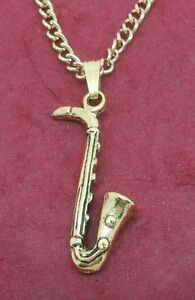 Image is loading Saxophone-Necklace-Gold-Plated-Charm-Pendant-and-Chain- dd11ad6a6105