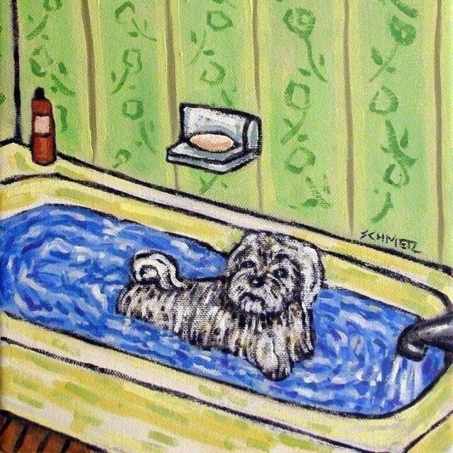 maltese at the pet salon  dog art print 13x19 artwork gift