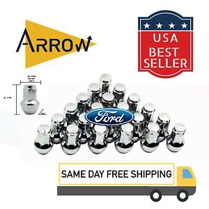 32pc Silver Bulge Lug Nuts 14x2 Course Threads for Ford F250 F350 Superduty