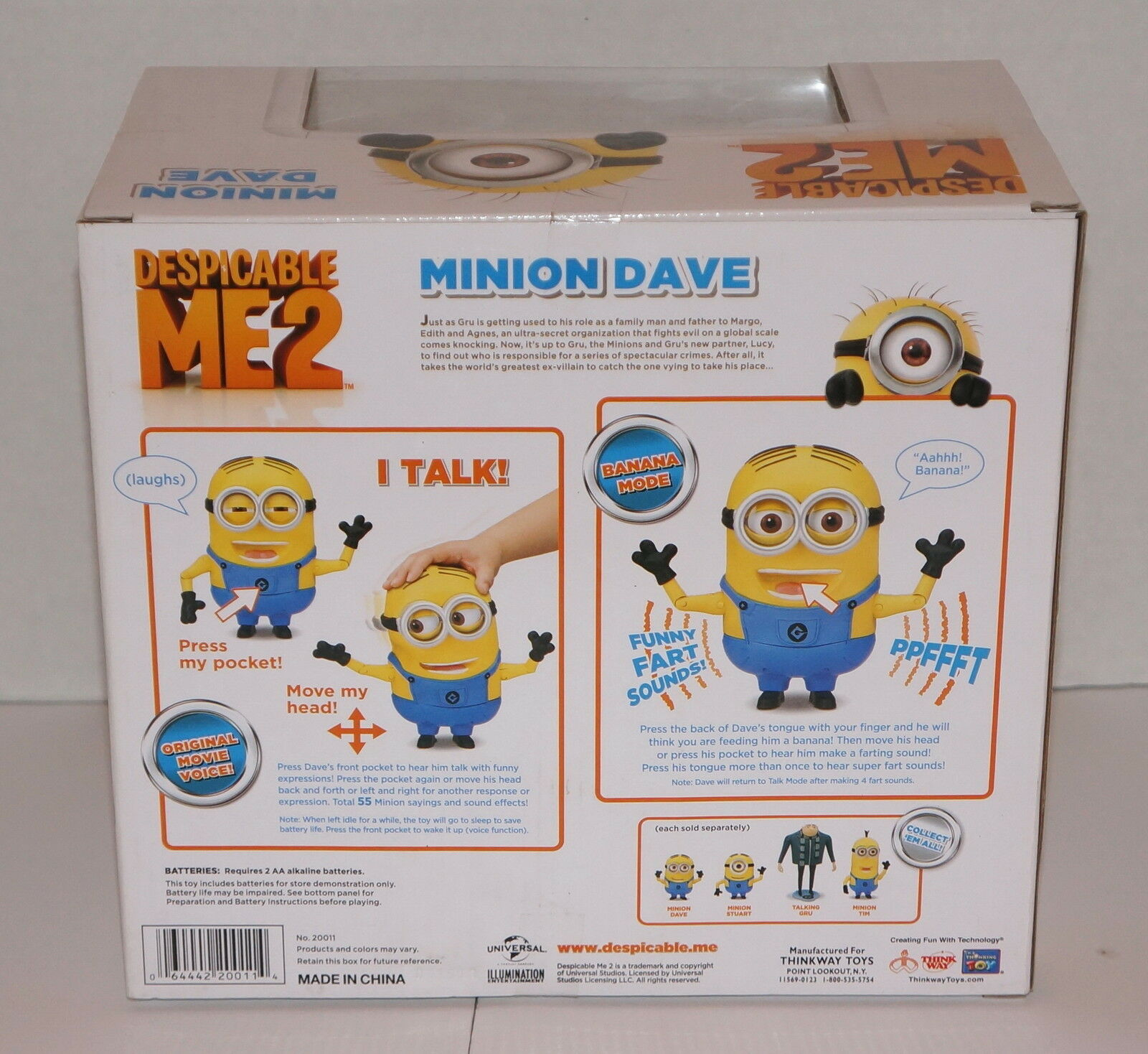 DESPICABLE ME 2 MINION DAVE LAUGHING 8 8 8 ACTION FIGURE 20011 NEW IN BOX 3a8bfd