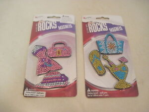 Glam-Rocks-Bling-Magnets-2-sets-total-of-6-Magnets-Locker-Refrigerator-NEW