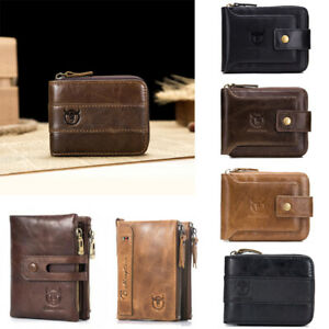 genuine leather man wallet FRID multifunctional note card holder hand bag boy