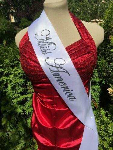 "SILVER or BLUE DELUXE Miss America 4/"" Glitter Sash in BLACK"