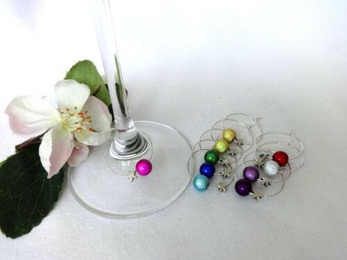 10 St Glasmarkierer Glasmarker Stern bunt silber Anhänger Deko Party Glück