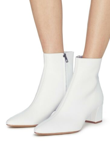 VINCE Lanica Booties White Leather Chunky Heel Che