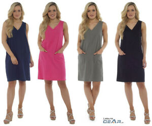 Womens-Linen-Summer-Shift-Dress-Ladies-Casual-Knee-Length-V-Neck-Outfit-10-22