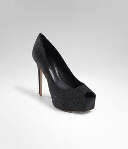 298-ELIE-TAHARI-Women-039-s-Kendra-Black-Sparkle-Peep-Toe-Pumps-39-5-Heels-8-8-5