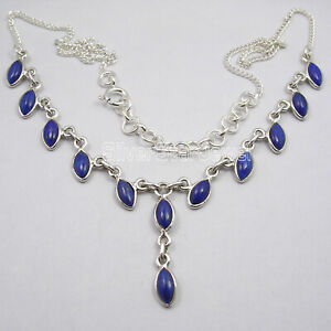 "925 Silver NAVY BLUE LAPIS LAZULI WOMEN/'S JEWELRY Pendant 1 1//8/"" HANDMADE"