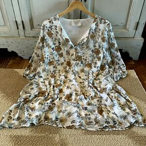 XL-New-Boho-Floral-Blouse-Tunic-Top-3-4-Sleeve-Fall-Dress-Womens-NWT-X-LARGE
