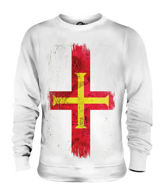 GUERNSEY GRUNGE FLAG UNISEX SWEATER TOP FOOTBALL GIFT SHIRT CLOTHING JERSEY