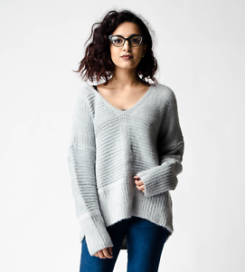 bfbffd35f New ex ASOS Grey Fluffy Yarn Oversized Chunky Jumper with V Neck RRP ...
