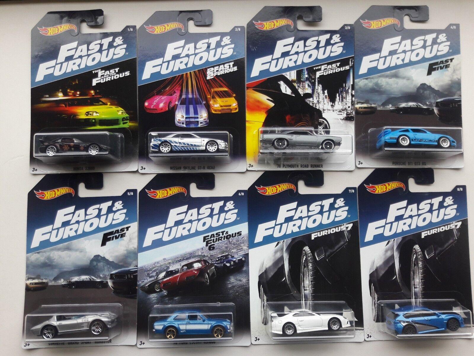 Hotwheels Fast & and Furious set Skyline Ford Subaru Porsche Plymouth All New,