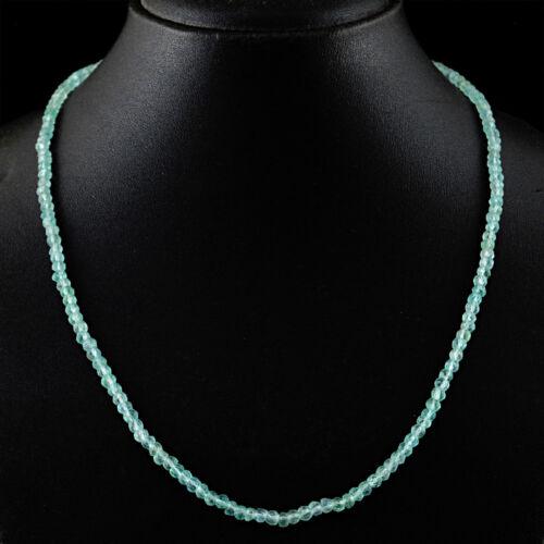 79.50 Cts Earth Mined Single Strand Blue Aquamarine Round Cut Beads Necklace