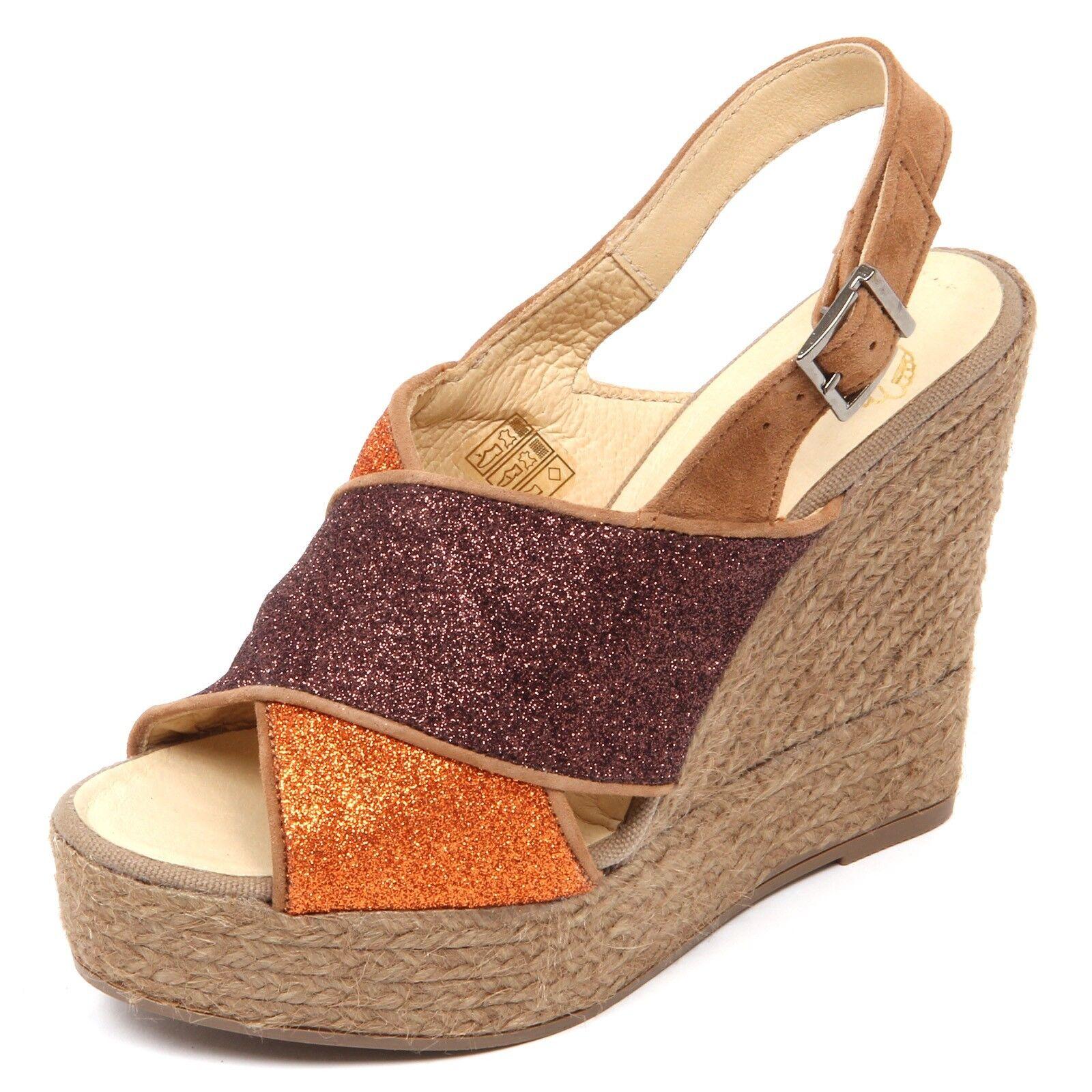 D2560 sandalo donna Marronee arancia ESPADRILLES zeppa glitter scarpe woman | Pacchetto Elegante E Robusto  | Maschio/Ragazze Scarpa
