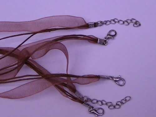 17 Colours Available. 5 x Organza Ribbon /&  Cord Necklaces BOX43