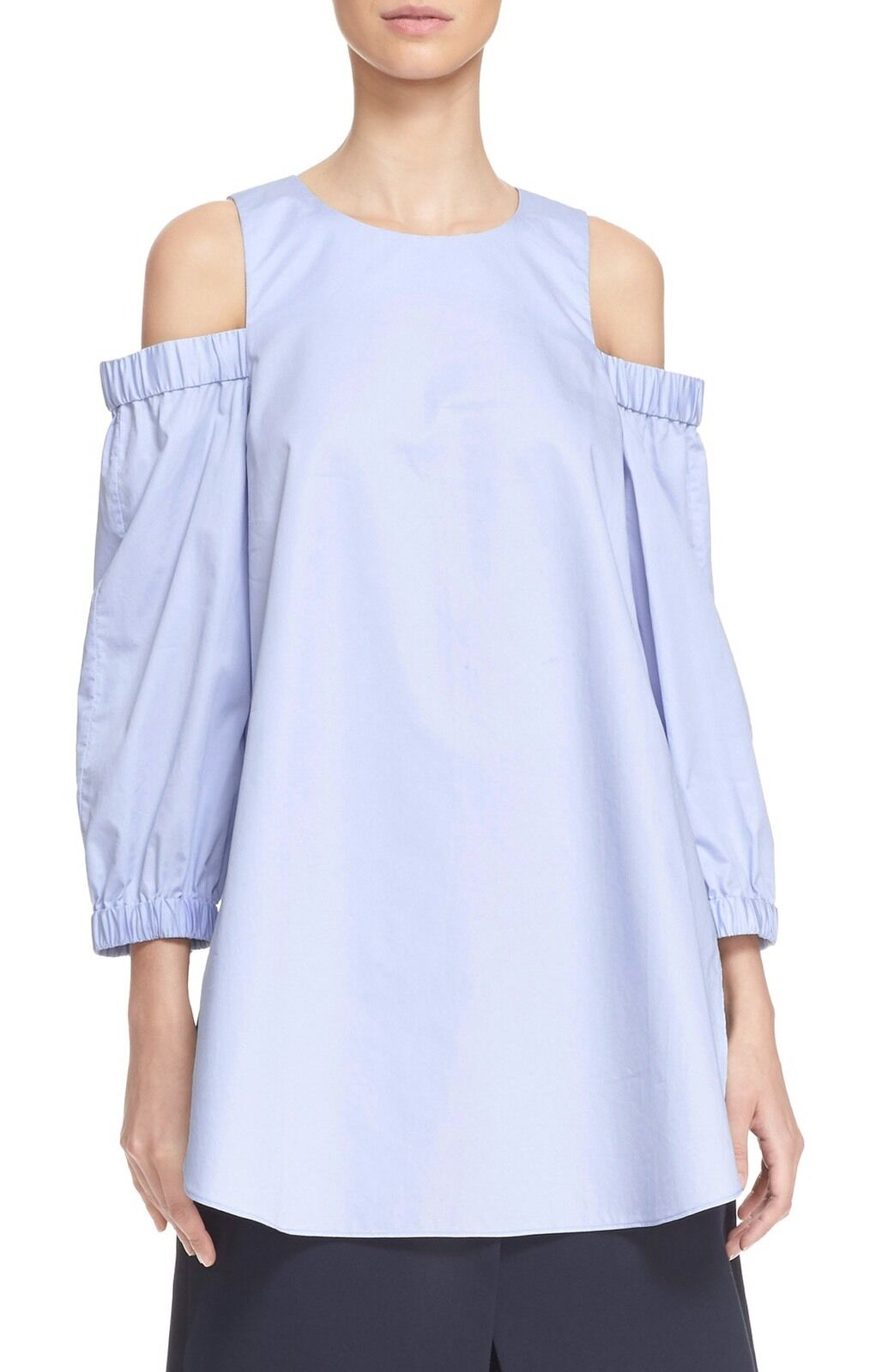 TIBI Blau Cotton Satin Poplin Cold Shoulder Tunic Top Shirt S Small Soldout