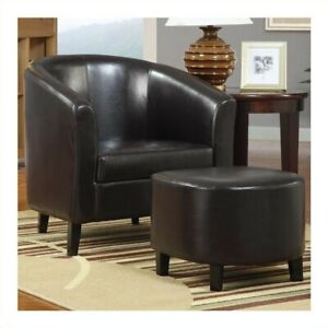 Swell Details About Coaster Faux Leather Accent Chair And Ottoman In Brown Creativecarmelina Interior Chair Design Creativecarmelinacom