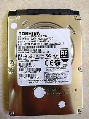 """NEW SYSTEM PULL Toshiba MQ01ACF050-500gb 7200rpm 2.5/"""" SATA HD"""