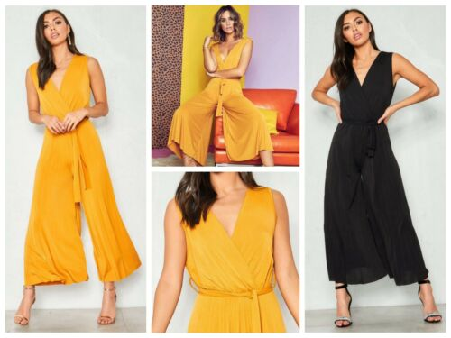 Slinky Plunge Neck Wrap Over Belted Pleated Wide Leg Culotte Sleeveless Jumpsuit