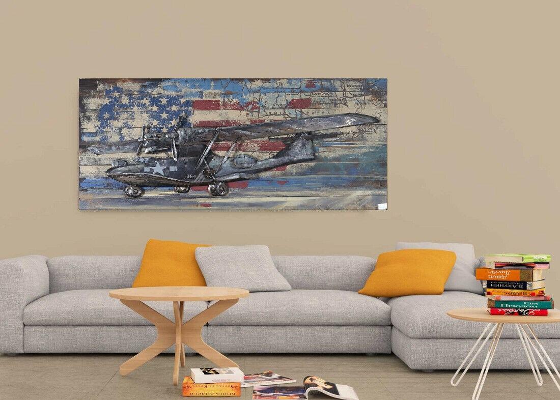Galvanized Metal Airplane Home Decor