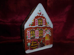 Winter-Snow-covered-Gingerbread-HOUSE-LIDDED-SHAPED-NOVELTY-TIN-Food-Advertising