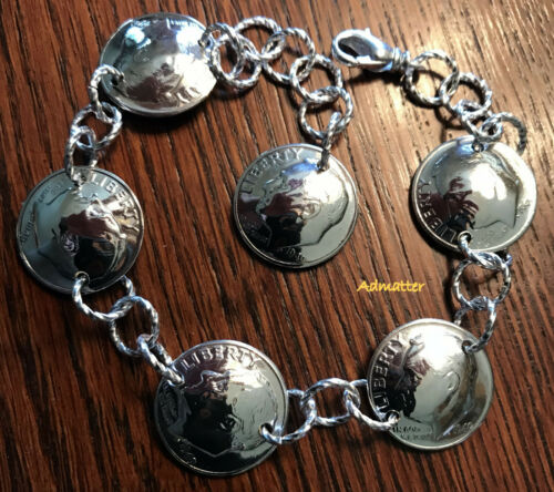 Details about  /1949 STERLING SILVER DIME CHARM BRACELET BIRTHDAY ANNIVERSARY UNUSUAL GIFT RARE!