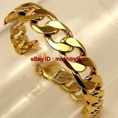 """Real 24k Yellow Gold GF Mens Bracelet 9"""" Curb Chain 12mm Wide Link GF Jewelry"""