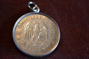 Charivari Anhänger 5 Reichsmark Silber Berliner Garnison-Kirche m.Silber-Fassung