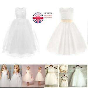 UK Lace Kid Flower Girl Bridesmaid Dress Wedding Party Birthday ... dd9e961db12f