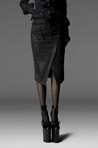 8729dd5042c1f Das Bild wird geladen Punk-Rave-Bleistift-Rock-schwarz-Brokat-Gotique-Skirt-