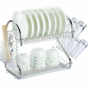2-Tier-Multi-function-Stainless-Steel-Dish-Drying-Rack-Cup-Drainer-Strainer