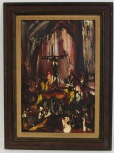 Joachim-Probst-039-Motif-039-Oil-on-Masonite-1966-Charmel-Collection