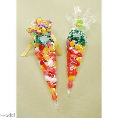 """Candy Holiday ~20~ Gift Treat Bags Party Cellophane Cone Large Size Plastic 12/"""""""