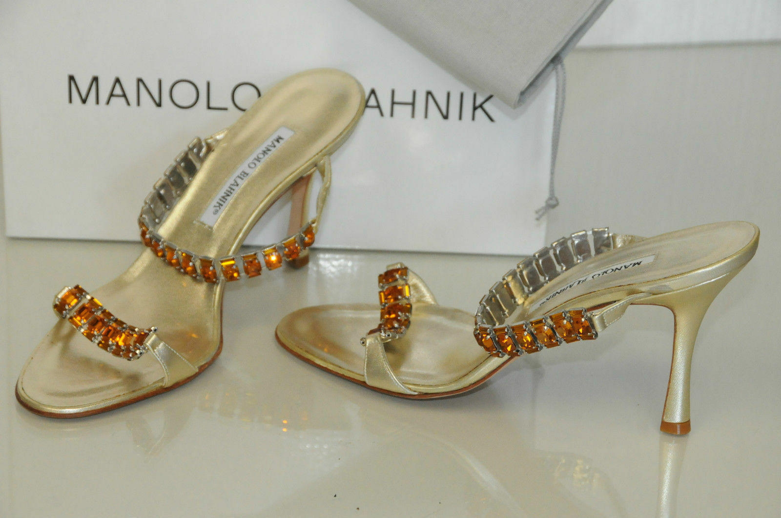 1085 New MANOLO BLAHNIK DALLI Jeweled gold Platinum SANDALS SLIDES SHOES 40.5
