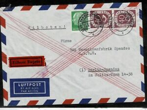Bund Brd Posthorn Minr 133 + 183, Envoi Spécial-lupo Lettre Hambourg-berlin 23.5.1954-afficher Le Titre D'origine Dans La Douleur