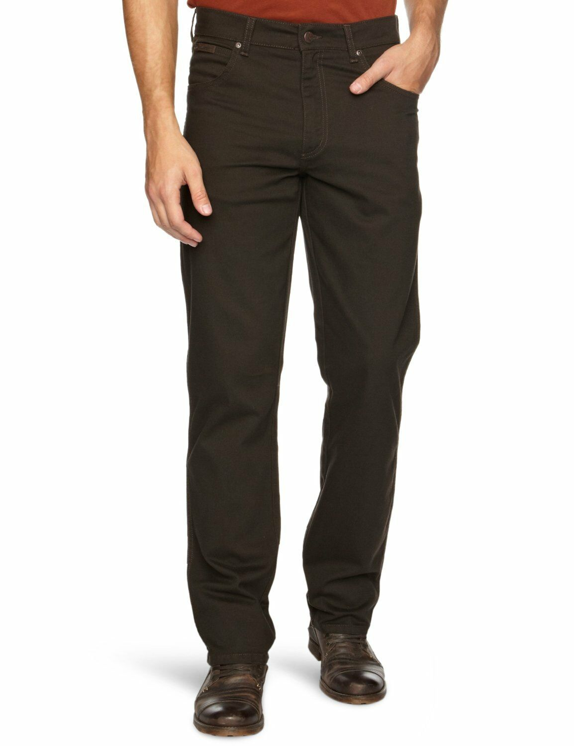 Wrangler Texas Stretch Jeans Mens Dark Brown Regular Fit Soft Fabric Trousers
