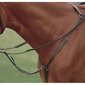 English Saddle Breastplate w//Martingale Raised Leather Full or Cob-BLK or BR