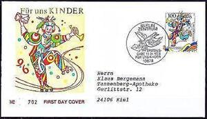 Frg-1996-Kinder-Blockmarken-Fdc-No-1853-With-Berlin-Stamp-Used-20-05