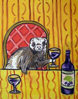 squirrel at the wine bar animal art  4x6  GLOSSY PRINT