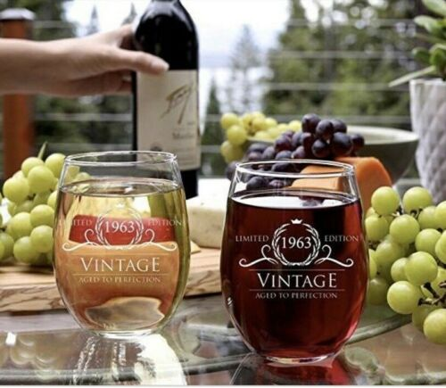 1963 Vintage Aged to Perfection Wine Glass Birthday Wedding Anniversary Gifts